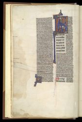 Historiated Initial To Psalm 1 With David Harping And Slaying Goliath, In Peter Lombard, Commentary On The Psalms